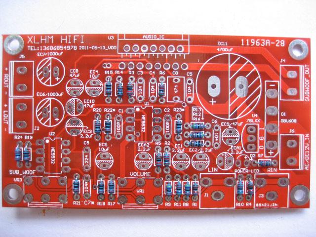 1 tda7377功放 重低音三声道低音炮功放板(散件)5532前级