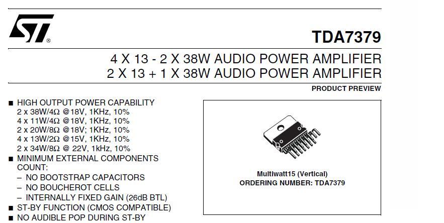 商品介绍: 本PCB板设计为采用一颗原装进口意法半导体(ST)公司的TDA7379组成三声道2.1功放电路,具有灵活使用,可多种电压供电的特点。新版升级,增加NE5532前级双运放电路。单电源直流10V~22 V,交流9V~14V范围内均可输入(输入电压越高,输出功率越大)。 左右卫星可以接2~4~6~8欧姆喇叭,超低音可以接4~8欧姆喇叭,左右卫星声道最大输出功率可达到13WX2,超低音声道最大输出功率可达到38WX1。 PCB使用优质双面玻纤板,高级红油阻焊层,布局合理,美观大方。外围元件少,无噪音,
