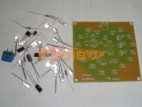 心形闪光灯电路电子制作套件/散件(低频振荡电路应用)