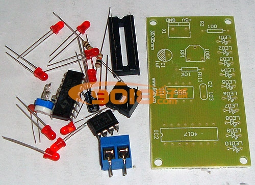 cd4017数字led流水灯电路电子制作套件/散件含电池盒