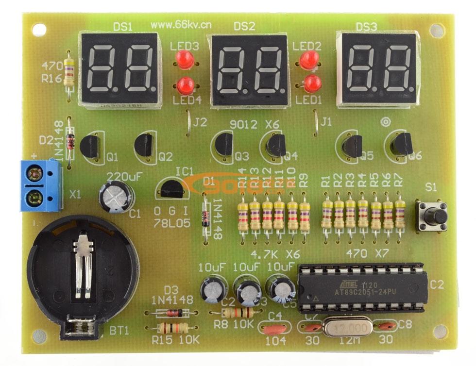 at89c2051单片机六位数字时钟/数字钟电路电子制作
