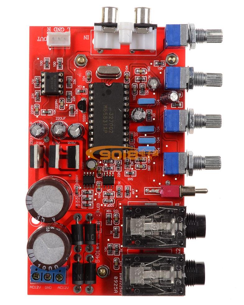 电路 卡拉ok板 m65831ap+ne5532数字混响卡拉ok前级
