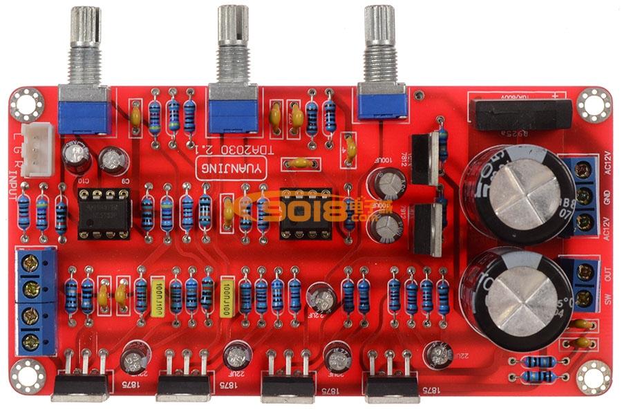 1三声道低音炮高保真功放板(成品板)