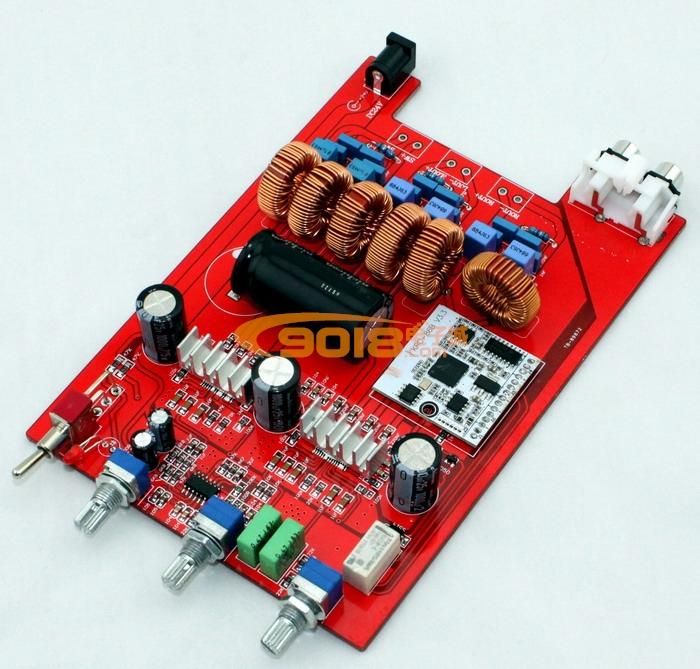 基本性能参数: 工作方式:D类 静态电流:50mA 工作效率:90% 额定输出功率:2*50W+100W 频率响应:20Hz至20KHz 工作电压:DC18V至DC24V 最大输出电流:4A PCB尺寸:160*108MM 电位器功能:从左边到右边 1.低音音量 2. 左右声道高音 3.左右声道音量 电位器距离:从左到右 1-2 为28.