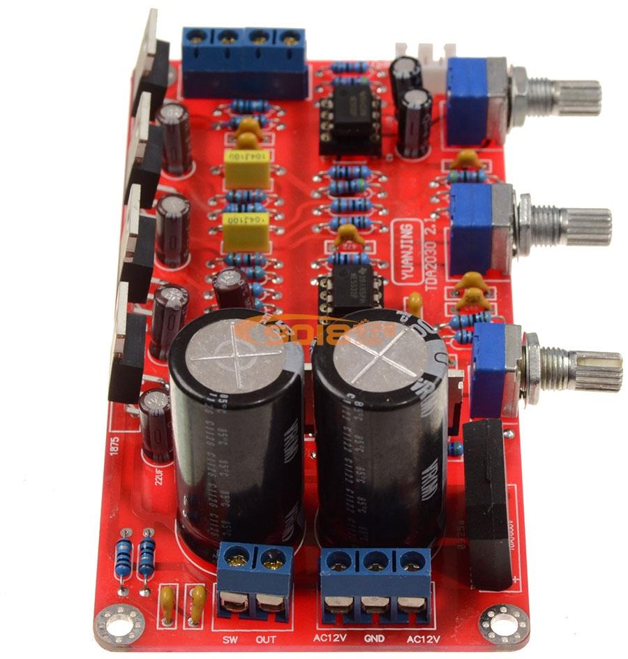 LM1875+NE5532 2.1声道低音炮高保真发烧功放板(成品板 25WX2+50W超低音)