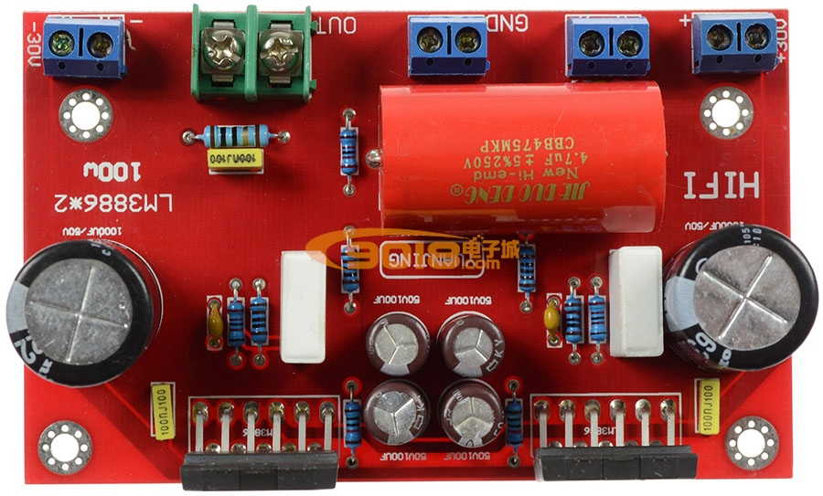 lm3886*2并联式100w单声道纯后级发烧功放板