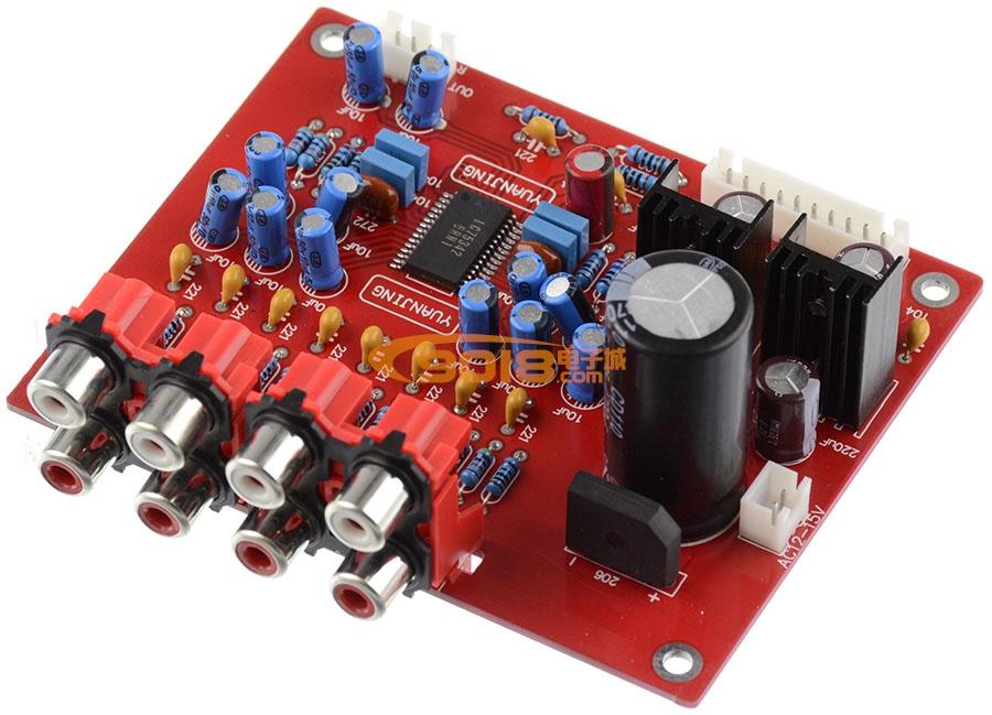LC75342电子音调板 功放前置板 带遥控 四路音源输入(可调高低音)