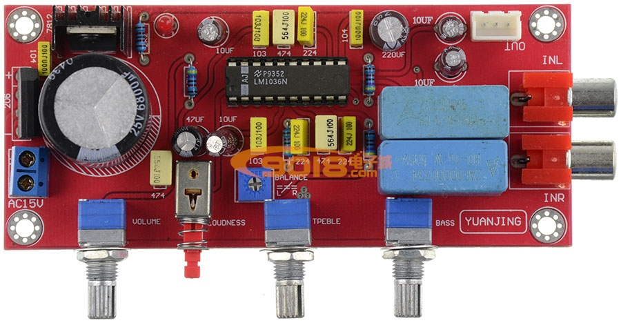 lm1036n直流控制发烧功放前级音调板