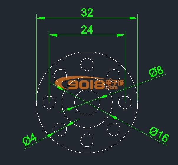 精密铝合金法兰联轴器 转轴嵌合联动器 轮毂法兰盘F32MM*外径16MM*内径8MM
