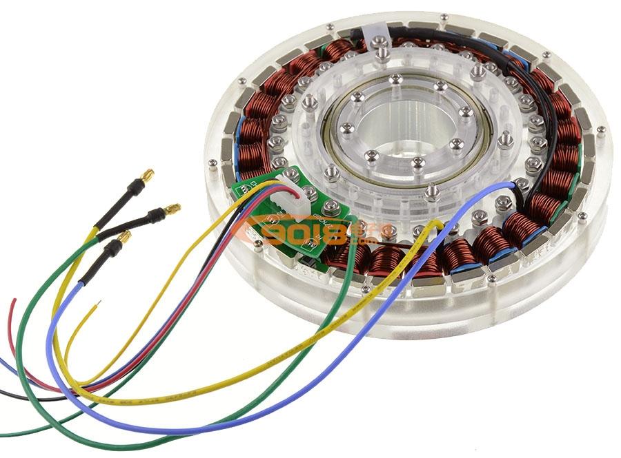 300w 27n30p盘式无刷电机 低磁阻 空心轴 扁平型力矩马达 成品已绕线