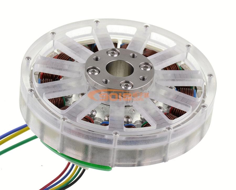 无刷电机 发电机 空心轴 扁平多极马达 直径112*24mm 已绕线成品机