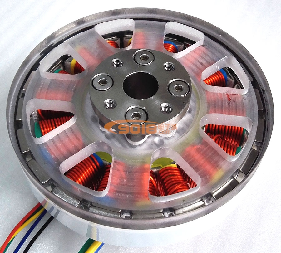 一体版法兰空心轴200W盘式18N20P永磁三相直流无刷电机/马达 有感带霍尔