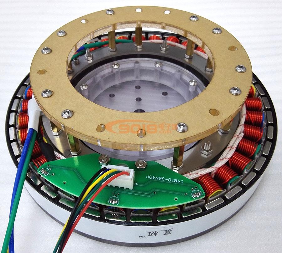 昊极400W无轴版低速大扭矩盘式直流无刷电机马达 扁平 三相 多极 超薄 有感带霍尔