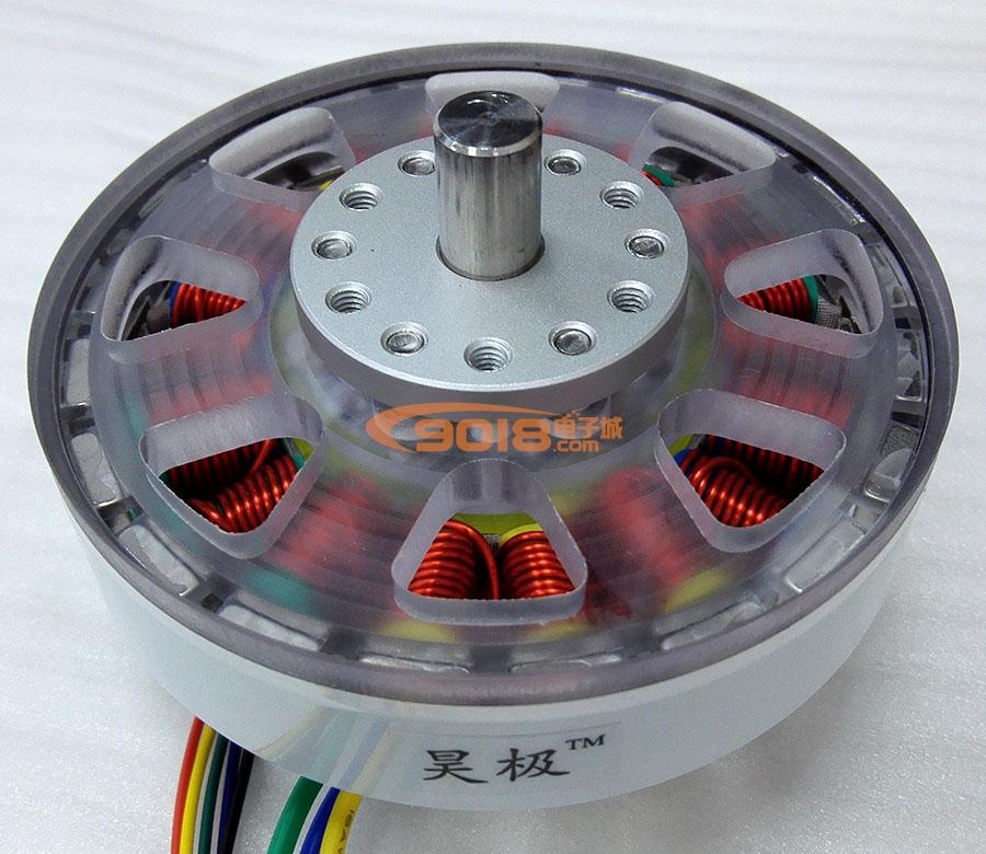 昊极200W实心轴扁平盘式多极永磁三相直流无刷电机/马达8010-18N20P有感带霍尔