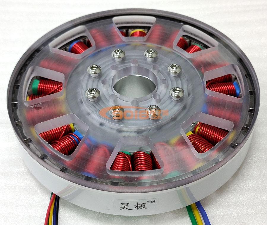 昊极400W小空心轴盘式三相永磁无刷直流电机 扁平 多极 超薄 有感带霍尔马达