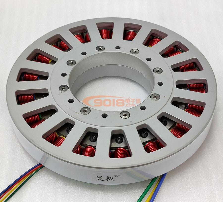 昊极480W大型永磁直流无刷电机马达 低速力矩型 盘式超薄扁平 多极 有感带霍尔