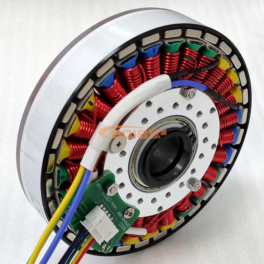昊极法兰空心轴300W盘式27N24P/27N30P永磁三相直流无刷电机/马达 有感带霍尔