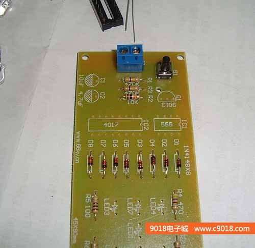 3,焊接电源接线座和按键