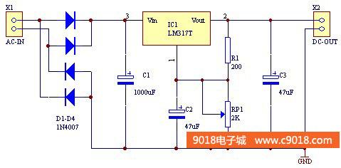lm317t可调稳压电源电路电子制作套件/散件