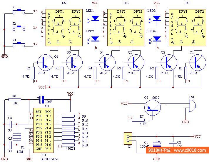 数字时钟电路原理图_多功能AT89C2051单片机六位数字时钟/秒表/倒计时/计数器电路电子 ...