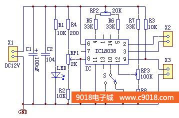 icl8038函数信号发生器电路套件/diy电子专业教学散件